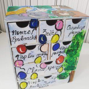 Ръчно изрисувана дървена кутия за бебешки съкровища
