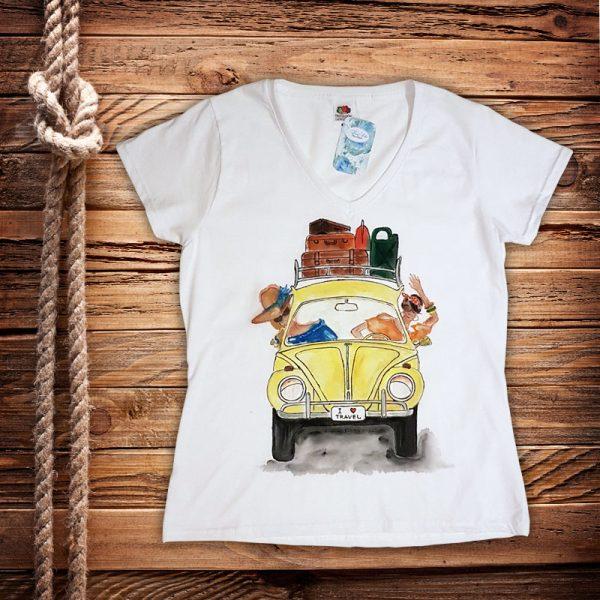 """Рисувана тениска """"I Love Travel"""""""