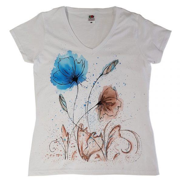 """Рисувана тениска """"Цветя"""""""