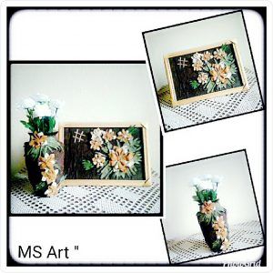 Картина от естествена кожа и ваза с декорация от естествена кожа