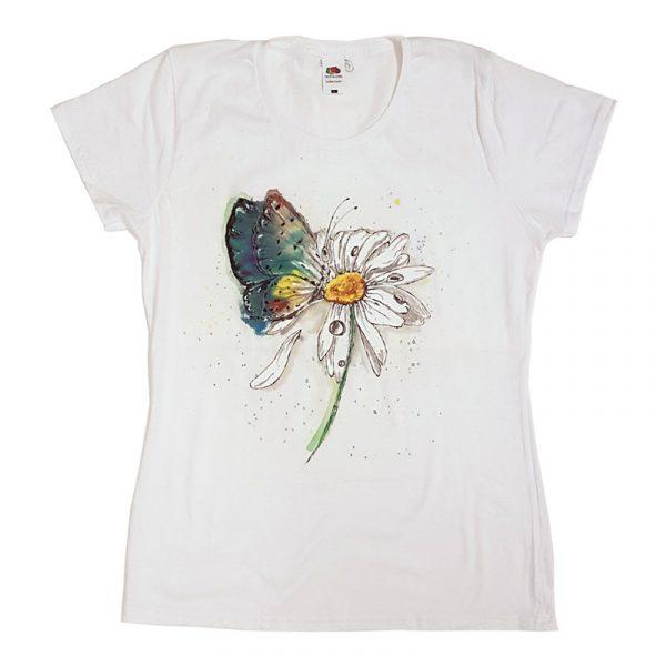 """Рисувана тениска """"Маргаритка с пеперуда"""""""