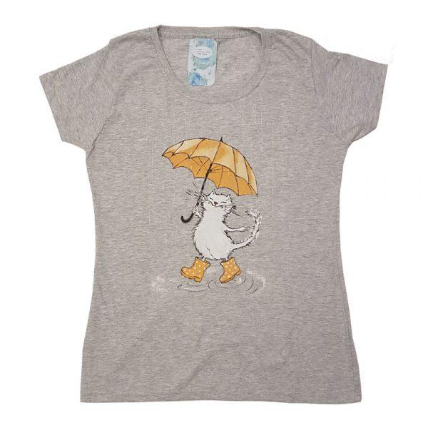 """Рисувана тениска """"Коте с чадър"""""""