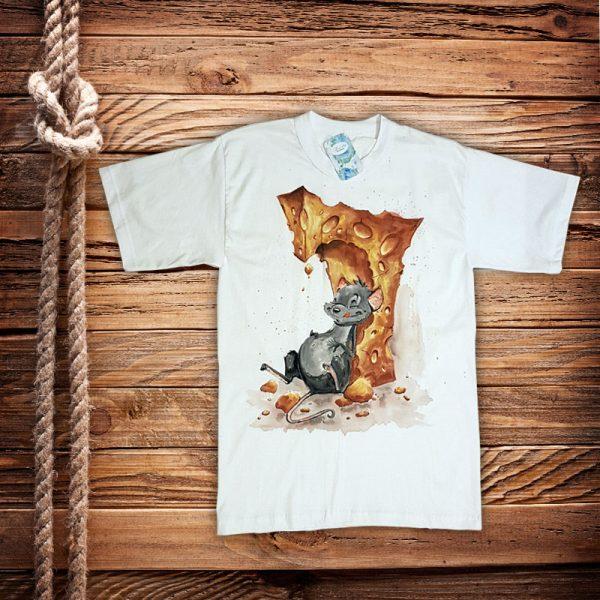 """Рисувана тениска """"Мишка със сирене"""""""