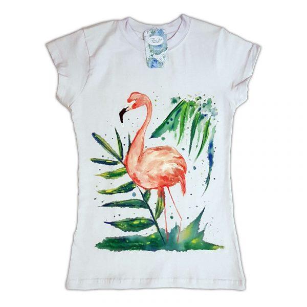 """Рисувана тениска """"Фламинго"""""""