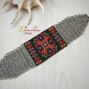 Ръчно изработена гривна с шевица Цвете
