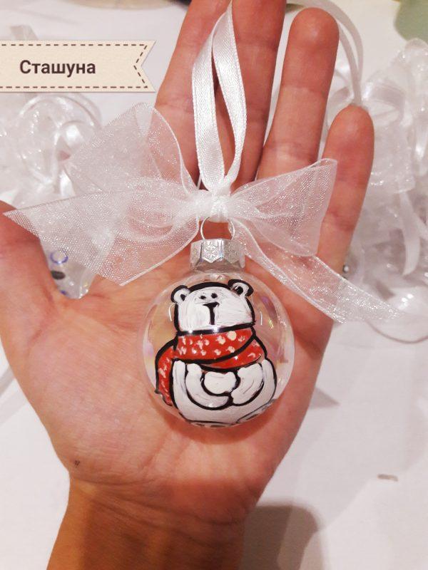 Стъклени ръчно рисувани топки за елха 4см