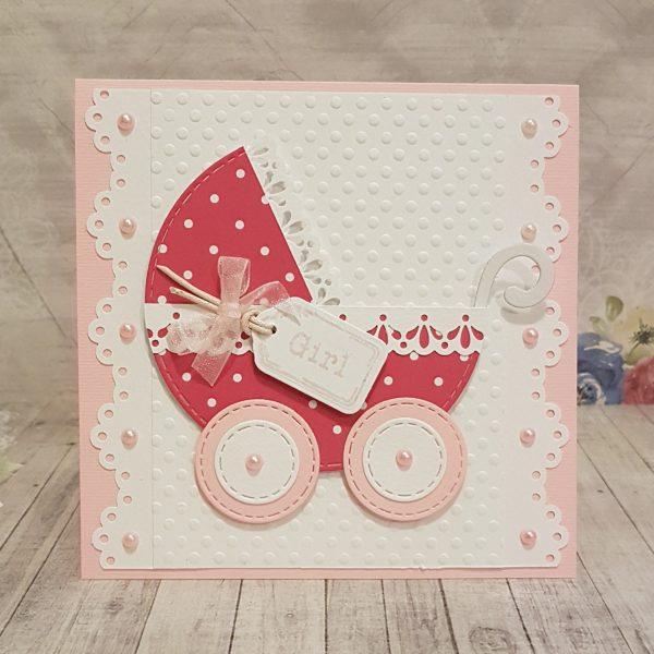 """Картички ръчна изработка за новородено """"Детска количка"""""""