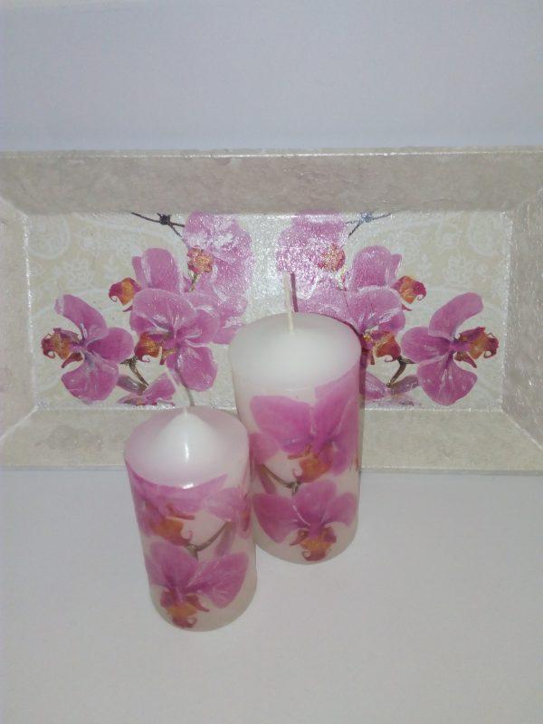 "Свещи в поднос ""орхидеи"""