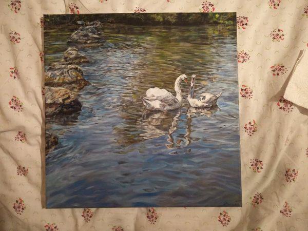 "Авторка картина ""Два лебеда"""