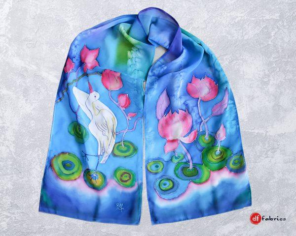 Ръчно рисувани копринени шалове с лилии и жерав - по поръчка