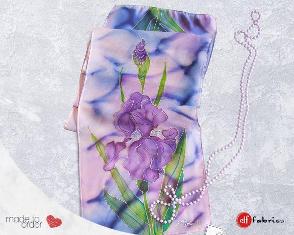 """Ръчно рисувани копринени шалове """"Ириси"""" - по поръчка"""