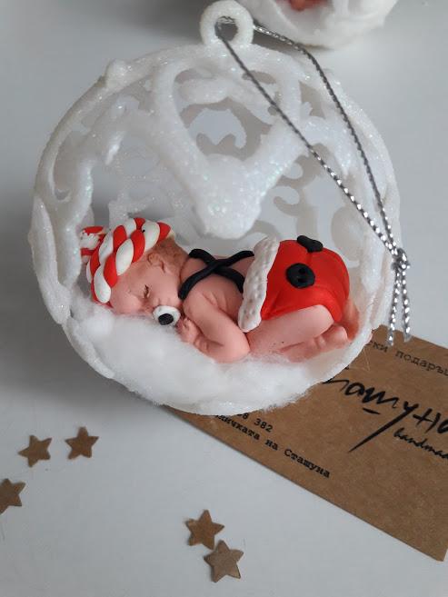 Коледни топки за елха с декорация от полимерна глина - бебе