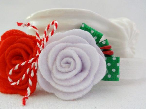 Ластична детска лента за глава с червена и бяла роза