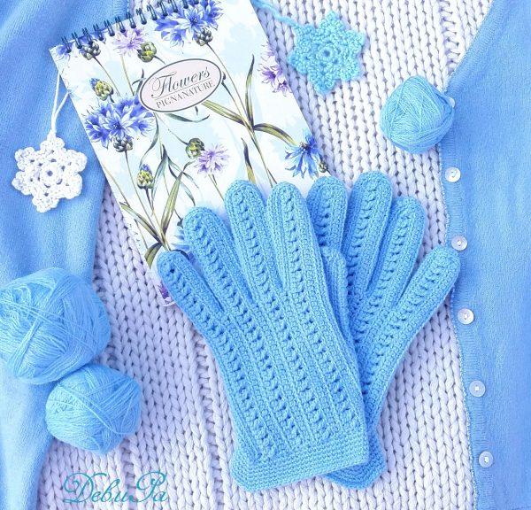 """Комплект - плетени шапка и ръкавици ,,Сплетена синева"""""""