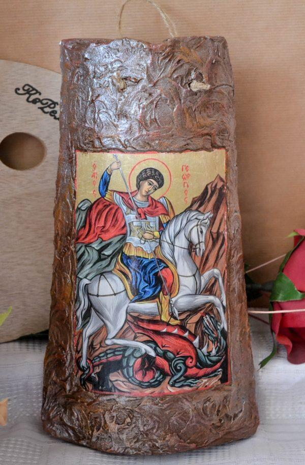 Икона върху керемида - Св. Георги Победоносец