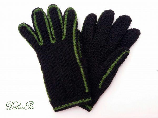 """Плетени ръкавици ,,Зимни - черни със зелен контур"""""""