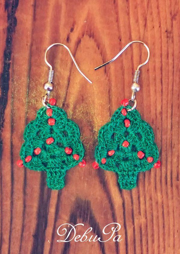 """Плетени обеци ,,Коледни елхички"""""""
