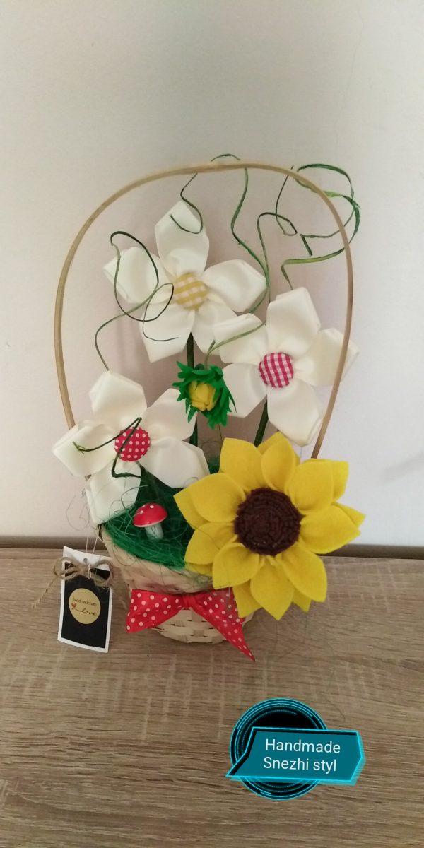 Кошнички с текстилни цветя