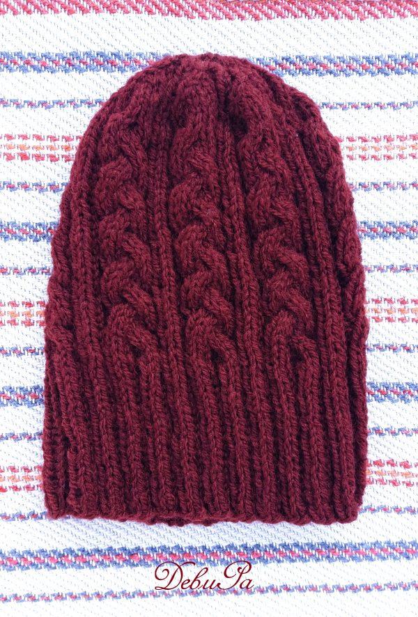 "Мъжка Плетена шапка ,,Плетеница в бордо"""