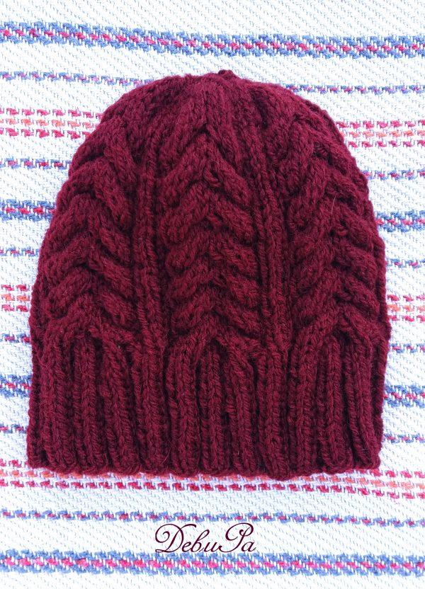 """Детска Плетена шапка ,,Плетеница в бордо"""""""