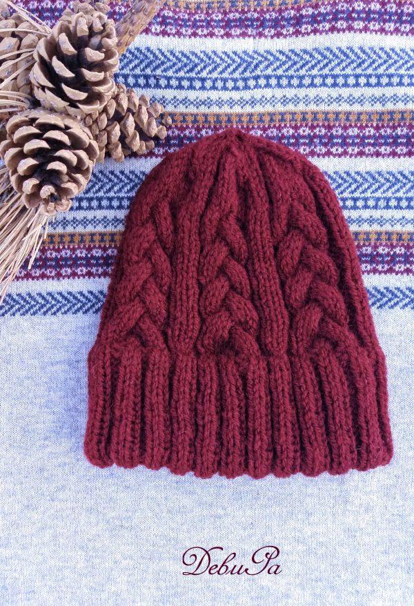 """Дамска плетена шапка """"Плетеница в бордо"""""""
