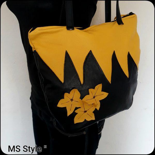 Дамска чанта от естествена кожа с цветя