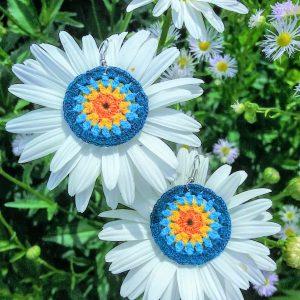 """Плетени обеци ,,Синьо лято"""""""