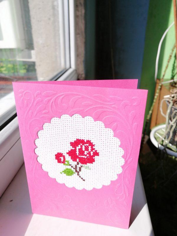 """Бродирана картичка """"Роза за теб"""""""