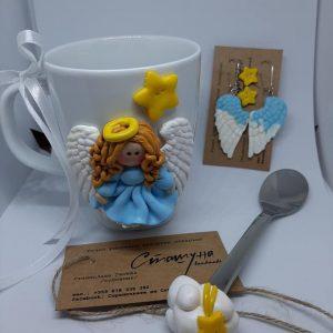 Подаръчен комплект ръчно направен с декорация от полимерна глина