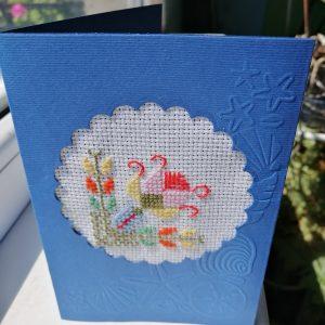 """Ръчно бродирана картичка """"Чудодейно цвете""""."""