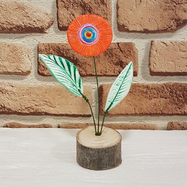 Керамично цвете с щипка 001