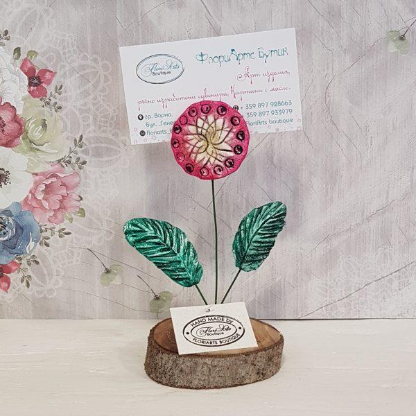 Керамично цвете с щипка 004