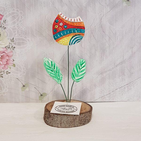 Керамично цвете с щипка 005