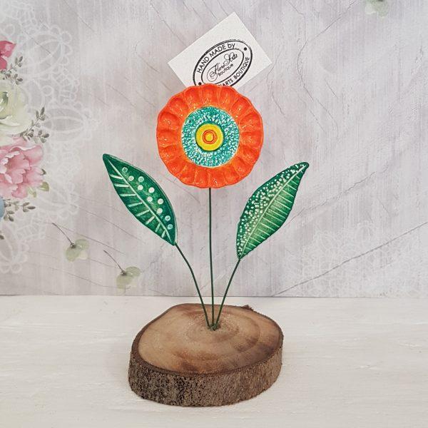 Керамично цвете с щипка 007