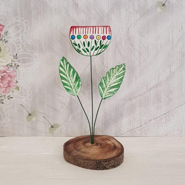 Керамично цвете с щипка 003