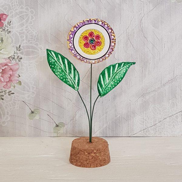 Керамично цвете с щипка 010