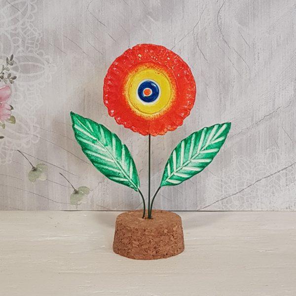 Керамично цвете с щипка 014