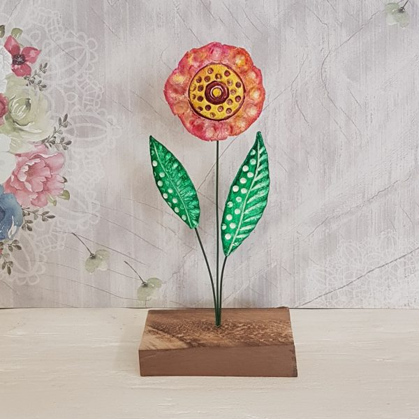 Керамично цвете с щипка 015