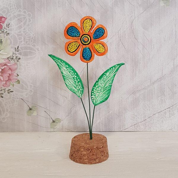 Керамично цвете с щипка 013