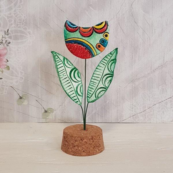 Керамично цвете с щипка 012