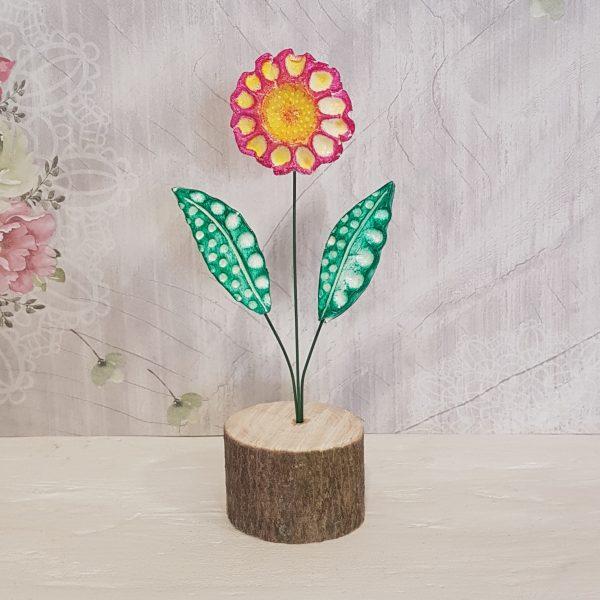 Керамично цвете с щипка 022