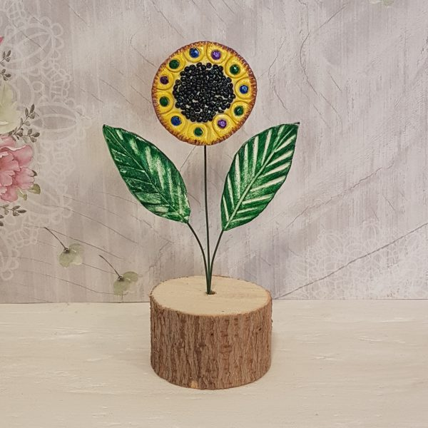 Керамично цвете с щипка 021