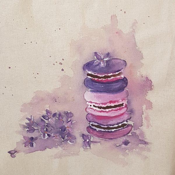 """Текстилна торбичка """"Френски макарони в лила"""""""