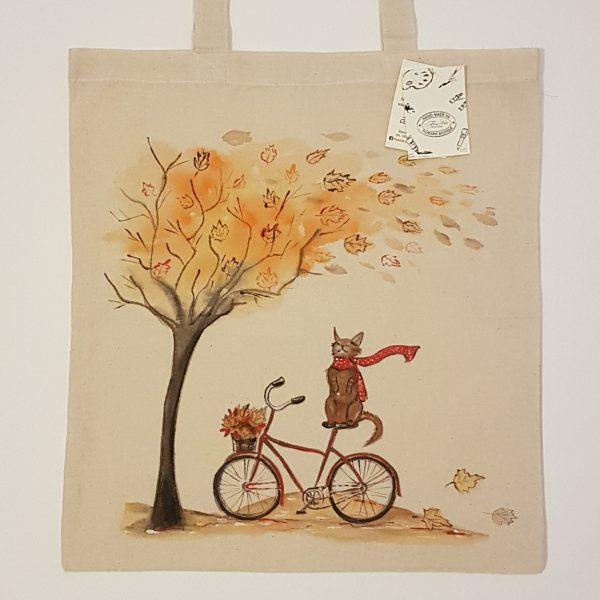 """Текстилна торбичка """"Есенен вятър"""""""