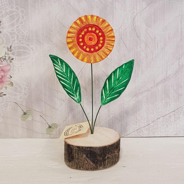 Керамично цвете с щипка 026
