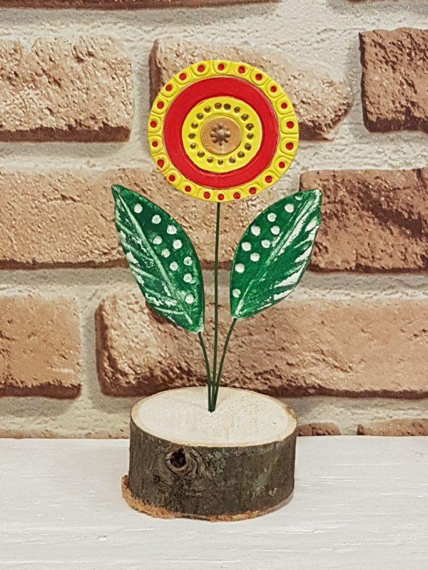 Керамично цвете с щипка 027