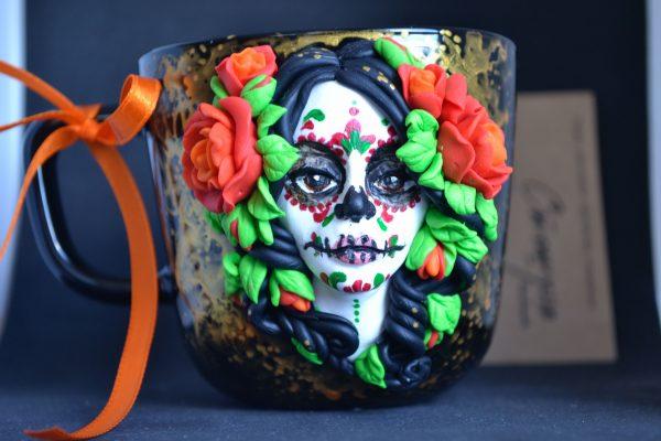 Чаша за Хелоуин с ръчна декорация от полимерна глина 250мл