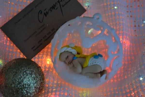 Коледни топки за елха с декорация бебе