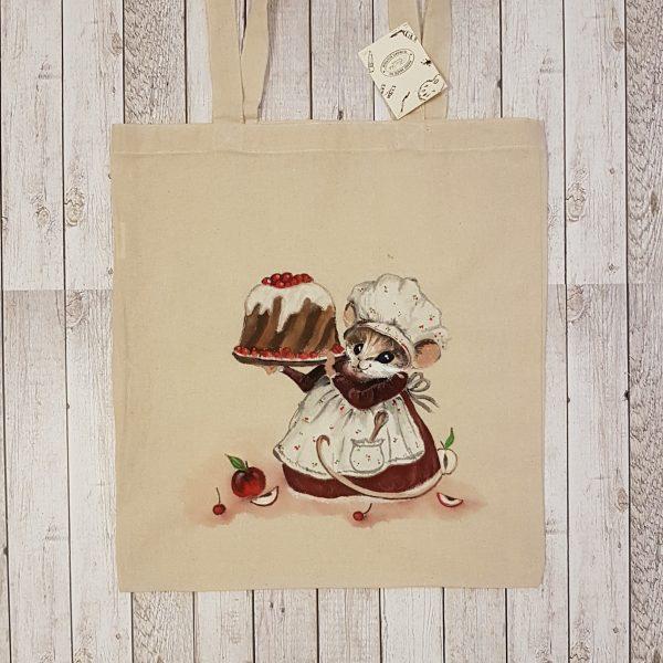 """Рисувана памучна торба """"Мишле сладкар"""""""