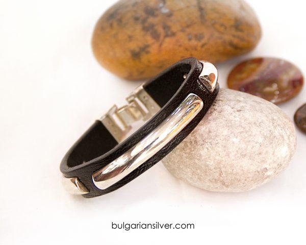 Мъжка гривна от кожа и сребро, Модел 002